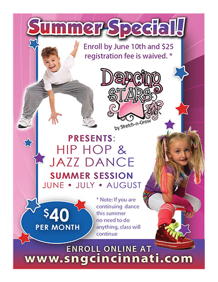 Dancing Stars: Small Hip Hop and Jazz Flyer