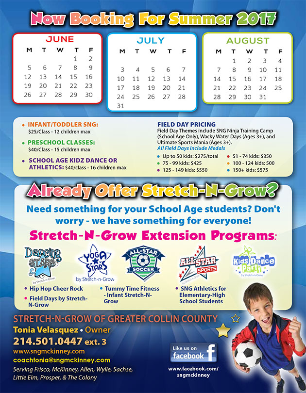Stretch-n-Grow General: Now Booking for Summer Flyer